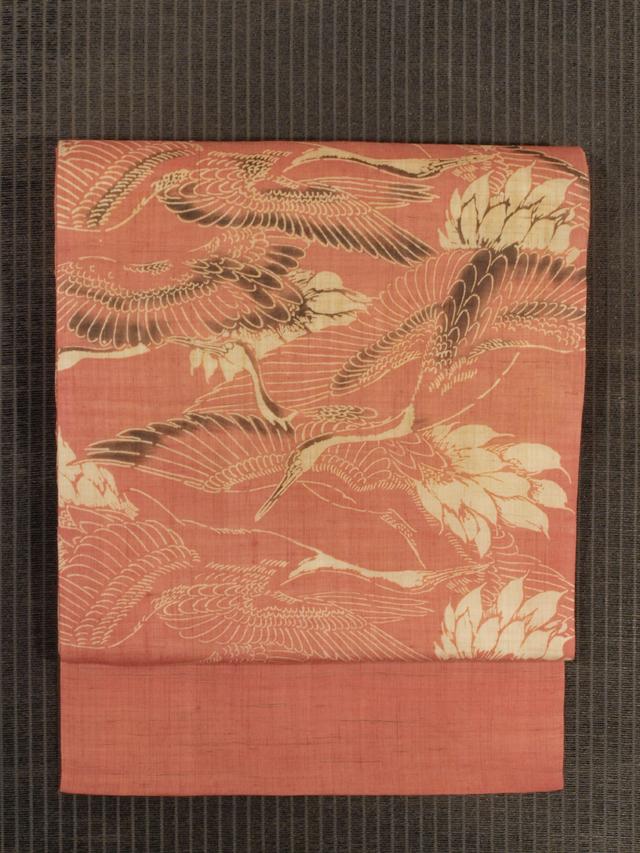 群鶴(ぐんかく)文様 型染め 麻 名古屋帯
