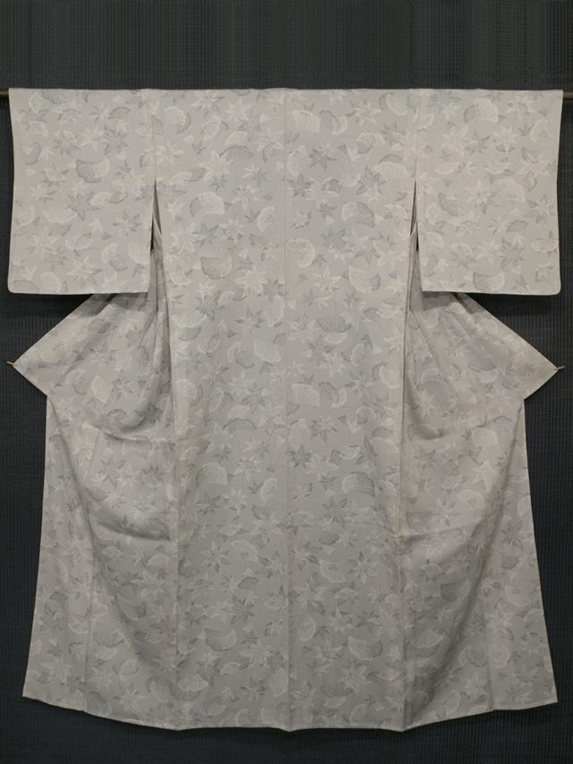 白鼠色地 落ち葉文様 型染め 小紋 単衣