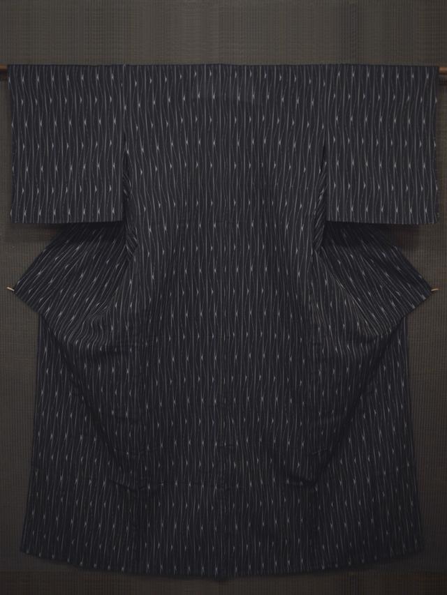 縞に幾何学文様 絣織 紗紬 単衣