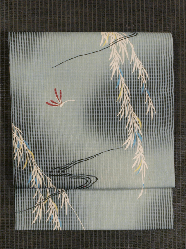 縦縞に柳と蜻蛉文様 型染め 絽 名古屋帯