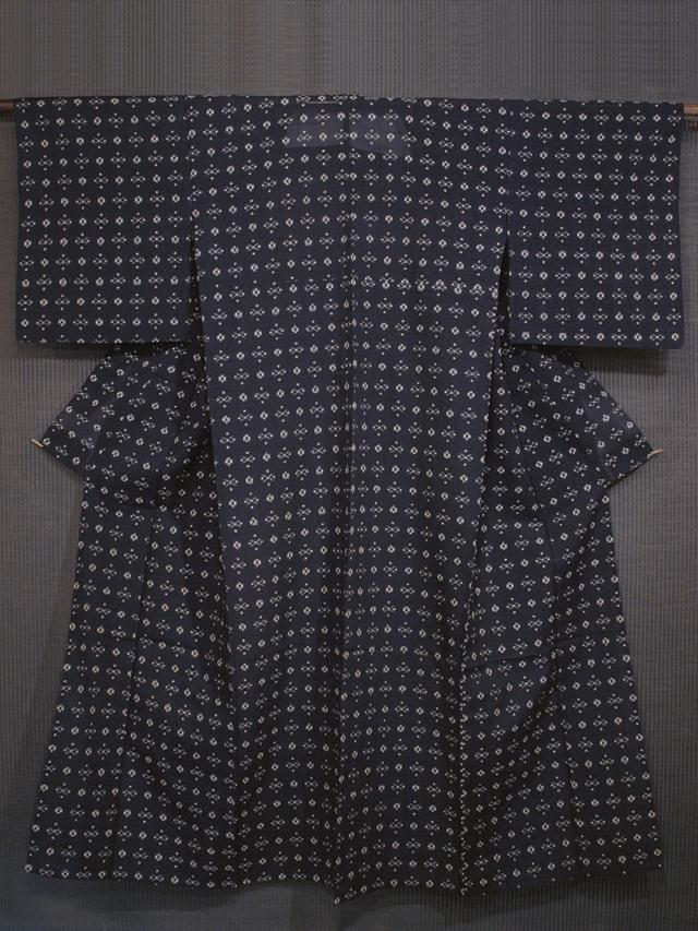 濃紺色地 幾何学文様 紗紬 単衣