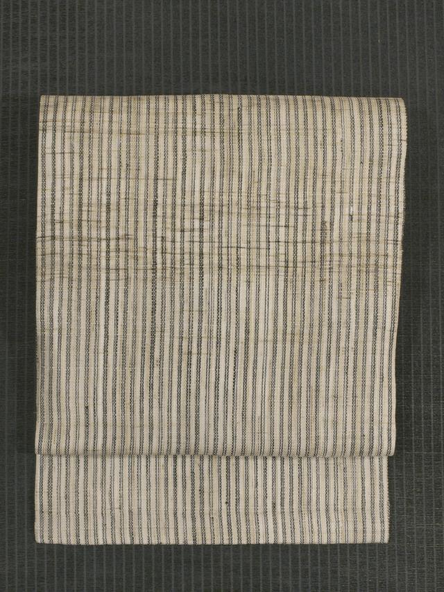 縞文様 手織り 麻 名古屋帯