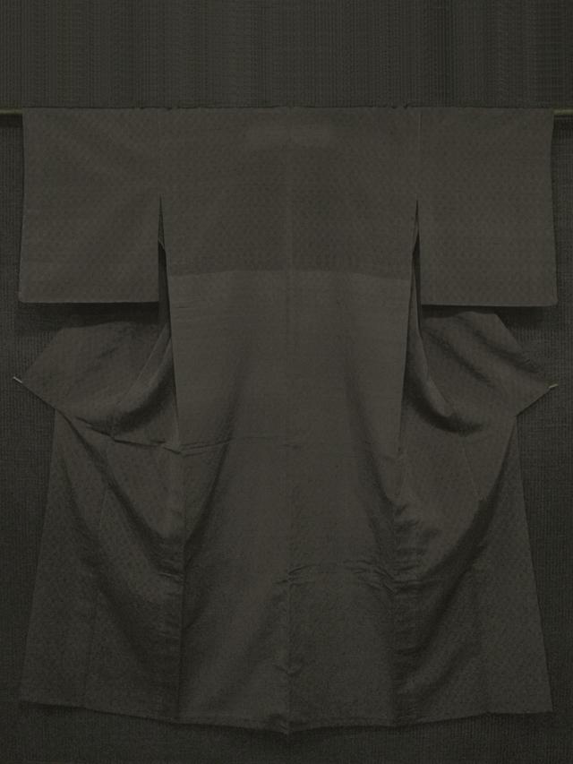 檳榔子染(びんろうじぞめ)色地 縞に立涌文様 明石ちぢみ 単衣 【証紙付き】