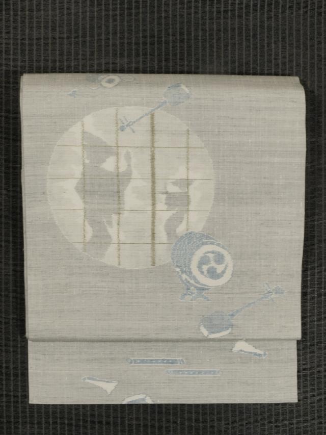 踊り文様 絣織り 真綿紬 名古屋帯