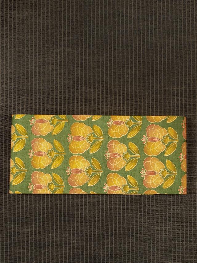 幾何学花文様 型染め 紬 半巾帯