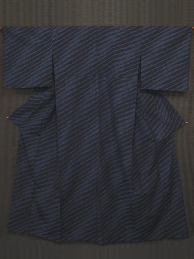 幾何学縞文様 結城縮 単衣