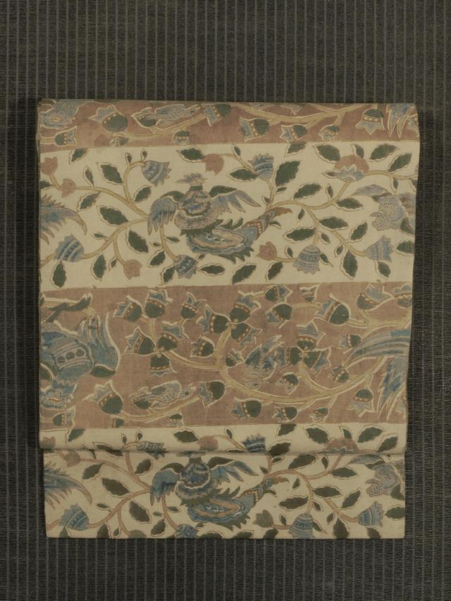 段縞に唐草と鳥文様 和更紗 名古屋帯