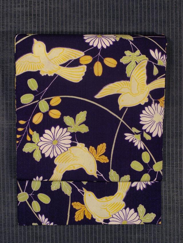菊と萩に鳥文様 型染め 名古屋帯