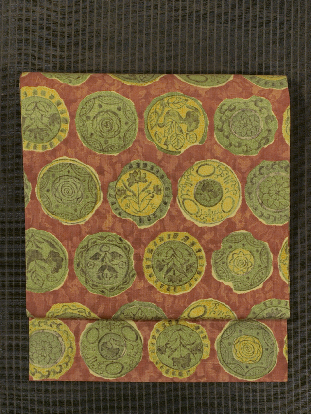 陶片文様 型染め 真綿紬 名古屋帯