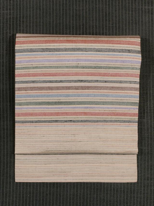 横段縞文様 手織り真綿紬 名古屋帯