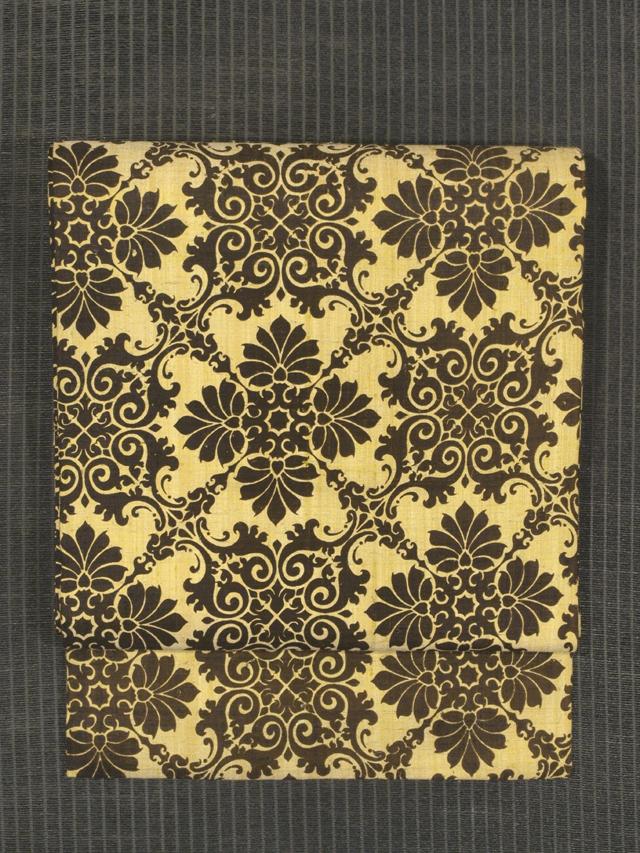 幾何学花文様 型染め 紬 名古屋帯