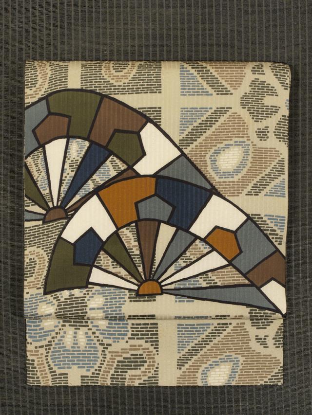 縞の地紋に花文と片輪車文様 型染め  名古屋帯
