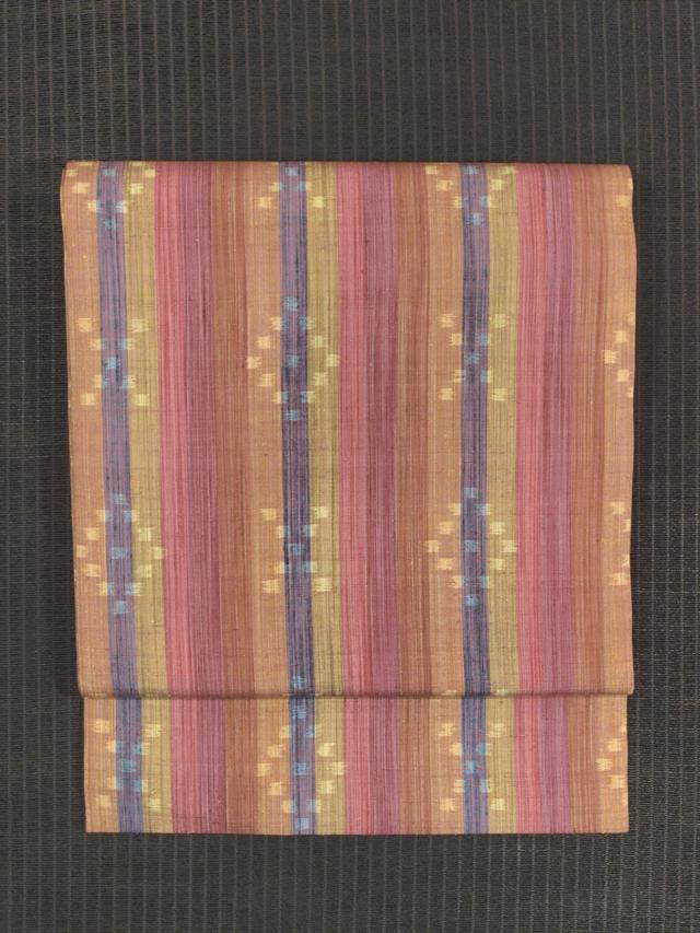 縞に幾何学文様 絣織り 真綿紬 名古屋帯