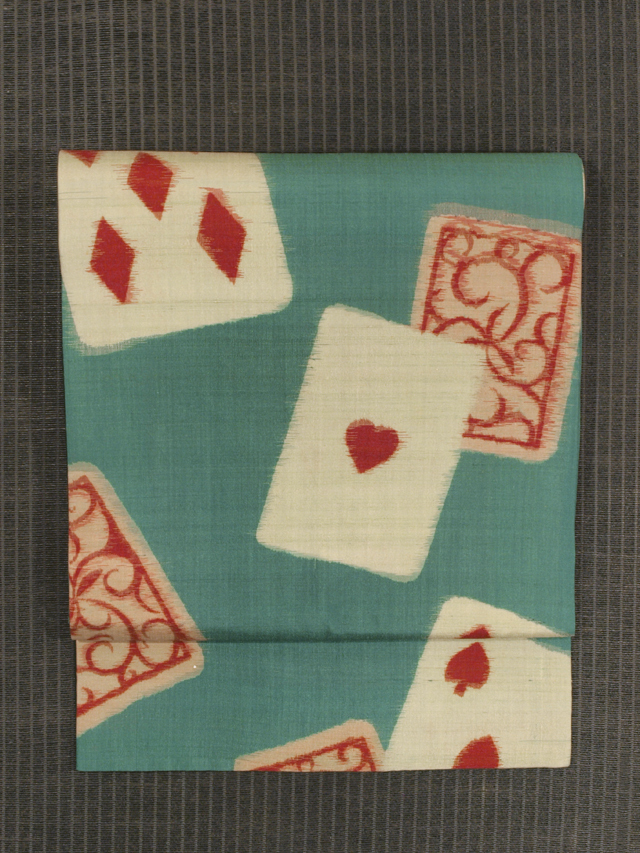 トランプ文 絣織り 名古屋帯