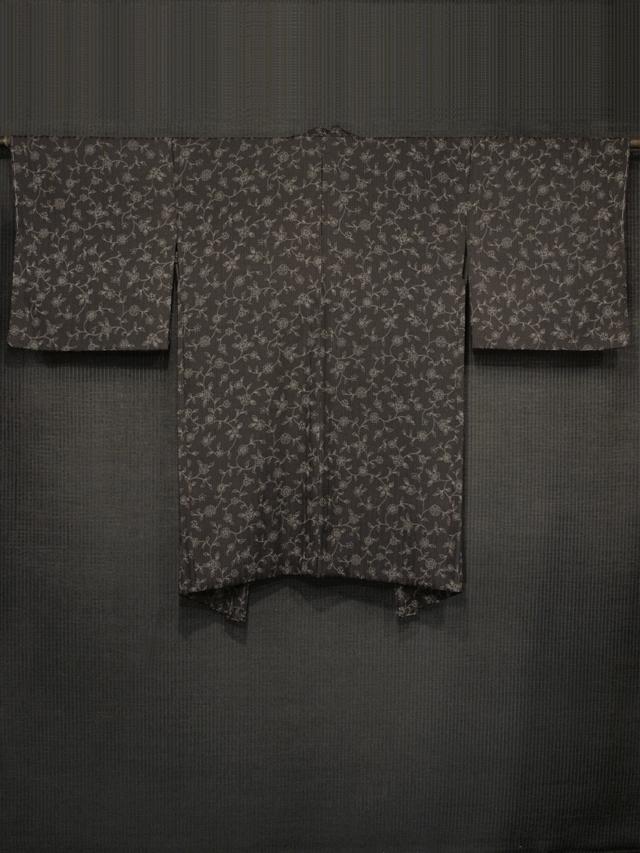 縞の地紋に唐花文様 型染め 羽織 袷