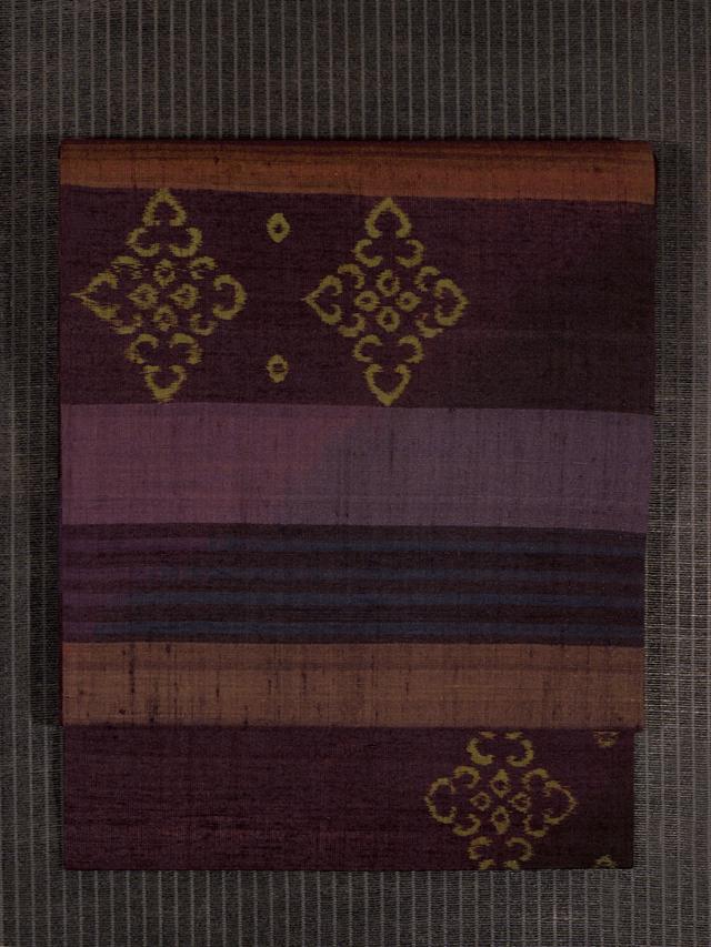 段縞に幾何学文様 絣織り 真綿紬 名古屋帯