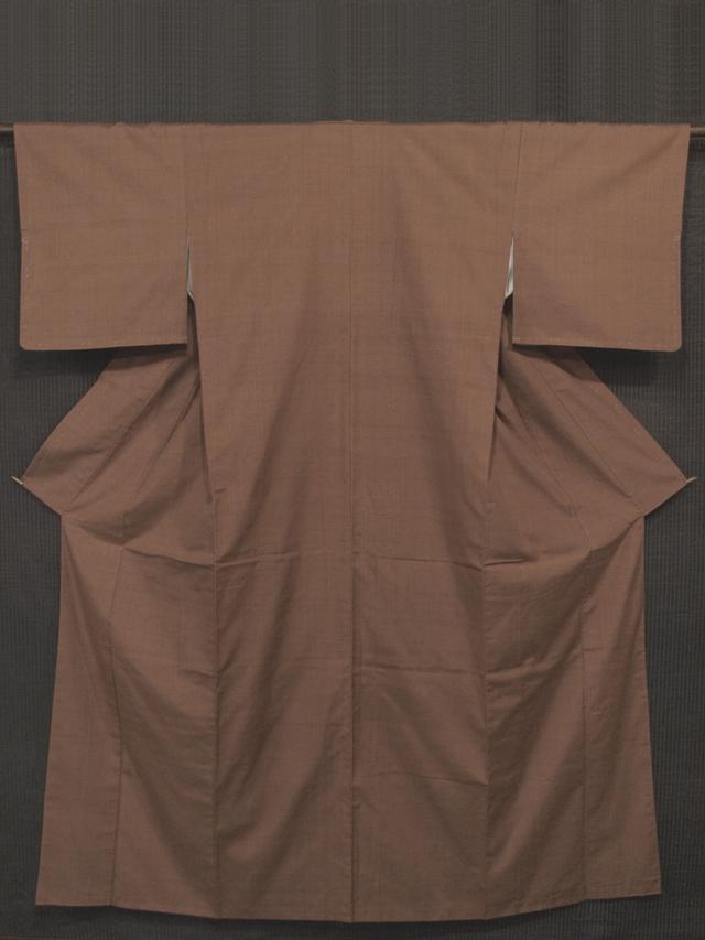 紅檜皮(べにひはだ)色地 無地 真綿紬 袷