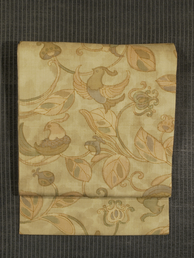 唐花に鳥文様 型染め 真綿紬 名古屋帯
