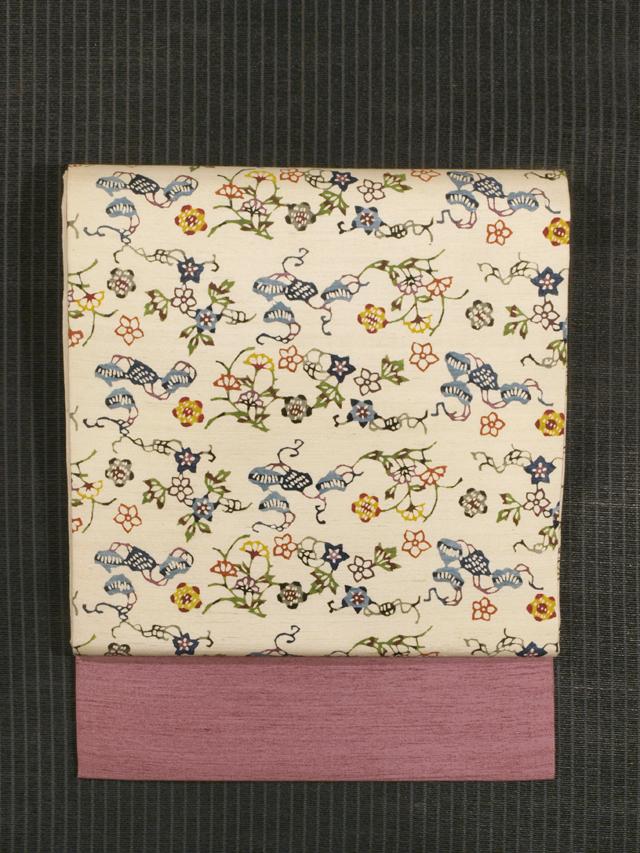 草花文様 紅型 真綿紬 名古屋帯