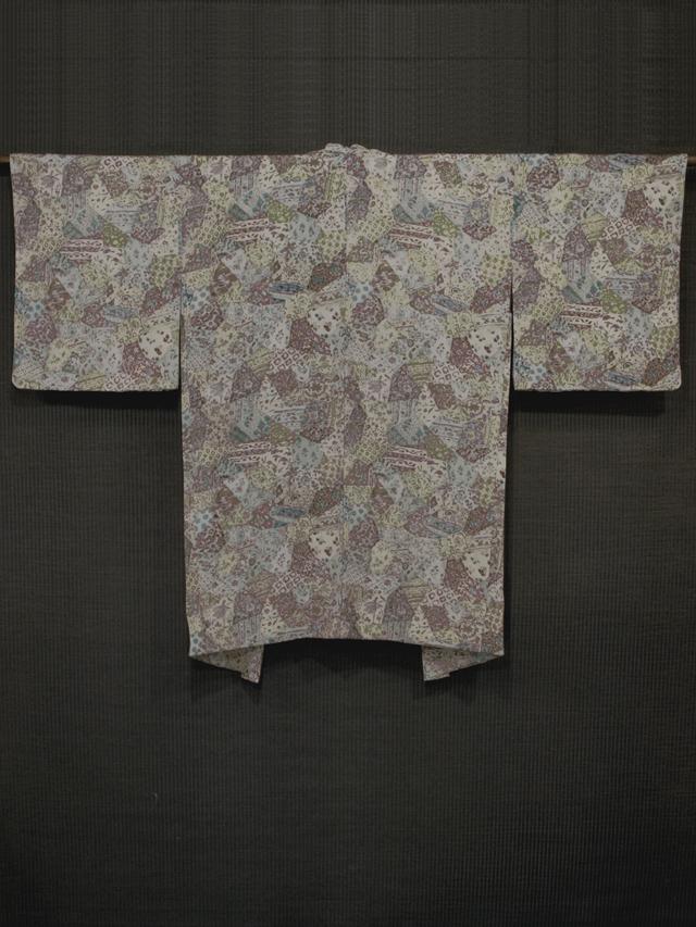 きりばめに更紗文様 型染め 羽織 袷