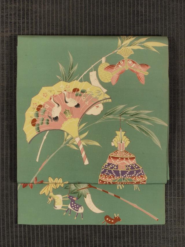 笹と楓に玩具文様 型染め 名古屋帯