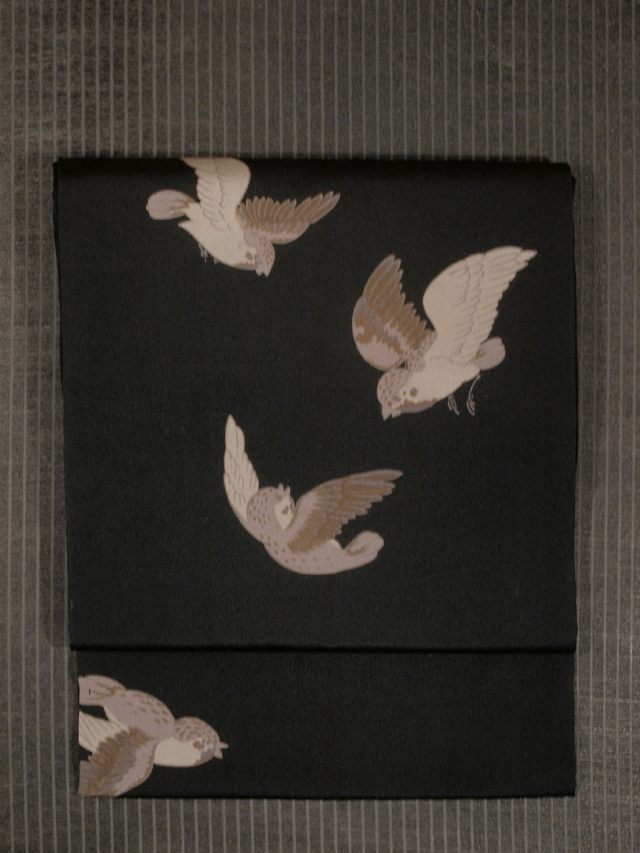飛雀文様 型染め 名古屋帯