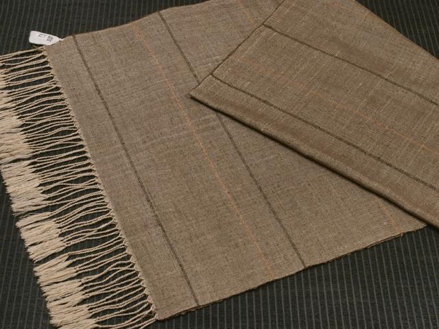 中野みどり作 草木染め手織り紬 焦茶地七子織x綾織ライン ショール