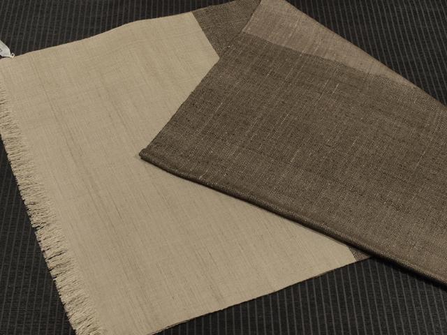 中野みどり作 草木染め手織り紬 ブラック綾織x焦茶xグレー ショール