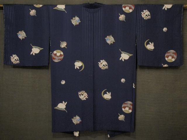 犬張子と月兎に玩具文様 型染め 羽織 袷