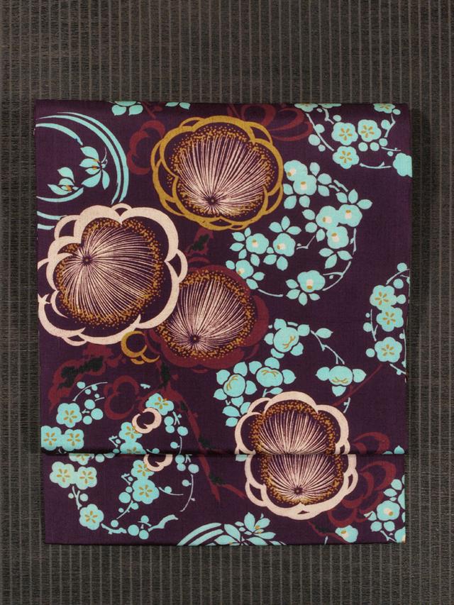 梅に花丸文様 型染め 紬 名古屋帯