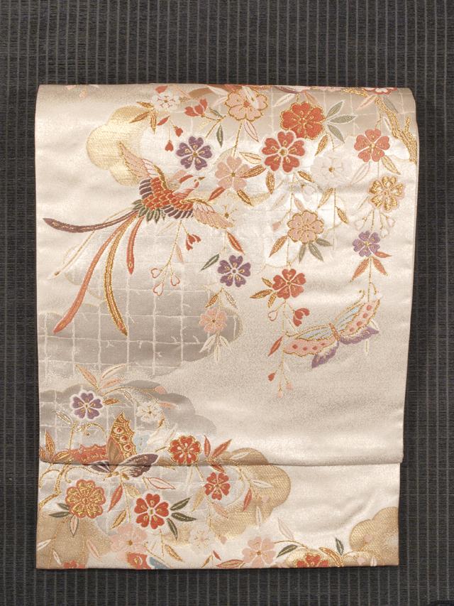 銀箔 花鳥文様 西陣織り 袋帯 三越扱い