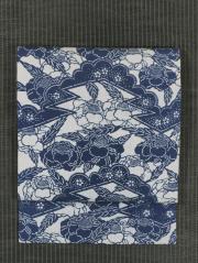 小花雲に松皮菱取りと椿文様 型染め 紬 名古屋帯