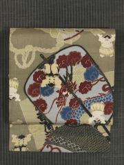 相撲文様 型染め 紬 名古屋帯