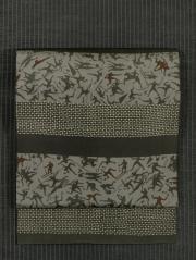 段縞に競技文様 型染め 名古屋帯