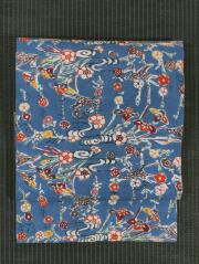 流水に草花と鳥文様 紅型 手織り木綿 名古屋帯