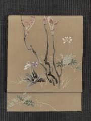 春の草花文様 手描き染め 名古屋帯