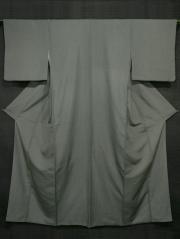 青白橡(あおしろつるばみ)色地 無地 縦縞の地紋 紬 袷