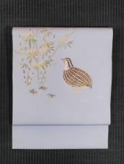 笹に鶉文様 手描き染め 名古屋帯