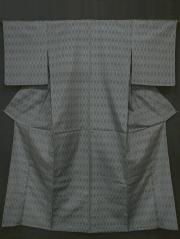 菱繋ぎ 絣文様 十日町紬 単衣