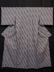 市松格子縞文様 手織り真綿紬 単衣