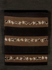 段縞にだるま踊り文様 型染め 名古屋帯