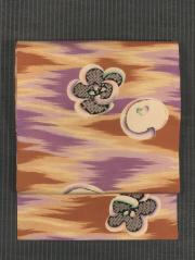 霞に花文様 型染め 名古屋帯