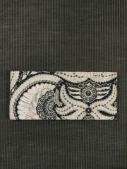 鳥花に幾何学文様 ジャワ更紗 半巾帯