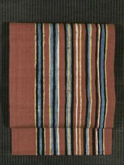 縞文様 手描き染め 手織真綿紬 名古屋帯