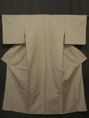 白橡(しろつるばみ)色地 縞に絣文様 琉球紬紬 単衣