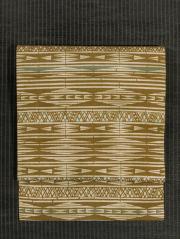 ぼかし染めに幾何学縞文様 型染め 紬 名古屋帯