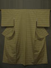 鶸茶(ひわちゃ)色地 格子に幾何学文様 花織紬 袷