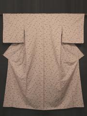 水柿色(みずがきいろ)地 唐花文様 型染め 真綿紬 袷
