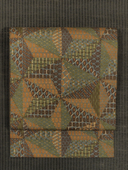 麻の葉に幾何学文様 型染め 真綿紬 名古屋帯