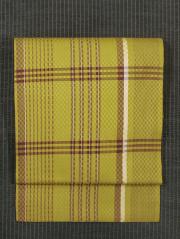 市松格子の綾織に格子縞文様 黄八丈 名古屋帯